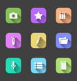 set of flat icons in multi-colored squares for a vector image