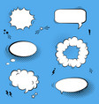 set with comic speech bubbles stars and halftone vector image