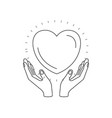 silhouette hands with floating heart charity vector image