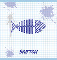 sketch line fish skeleton icon isolated on white vector image vector image
