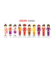 southeast asia women in traditional clothing vector image vector image