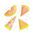 tasty yellow a slice pizza cartoon set icons vector image