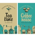 tea and coffee with pictures of kitchen equipment vector image vector image
