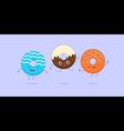Three kawaii donuts vector image vector image
