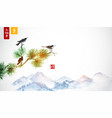 three little birds on pine tree branch and far vector image vector image