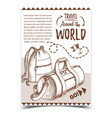 travel world advertising poster with bags vector image vector image