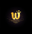 w letter alphabet icon design with golden star vector image