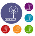 wifi router icons set vector image vector image
