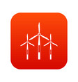 wind generator turbines icon digital red vector image vector image