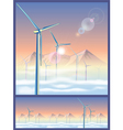 wind turbines in the mountains vector image vector image