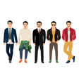 young men in different male clothes vector image