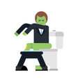 zombie on toilet green dead man in wc vector image vector image