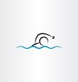 man swimming icon vector image