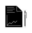 document report with graph and pen icon vector image