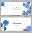 fashion collection greeting cards with blue roses vector image