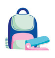 back to school education backpack and stapler vector image
