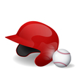 baseball helmet and baseball vector image vector image