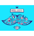 big mustache of hipster life style with diff vector image