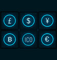 bitcoin yen and pound sterling set icons vector image vector image