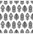 black and white mandala feathers seamless pattern vector image