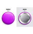 blank purple glossy badge or button 3d render vector image vector image