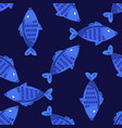 blue fish seamless pattern vector image