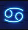 blue shining cosmic neon zodiac cancer symbol on vector image