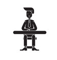 businessman sitting at the table black vector image vector image