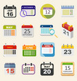 Calendar icons set business everyday planning vector image