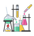 chemistry laboratory and science equipment vector image vector image