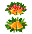 christmas bells of holly vector image vector image