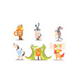 collection funny animals in different vector image