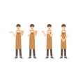collection smart waiter or assistant in apron vector image vector image