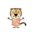 color crayon silhouette caricature of cute tiger vector image vector image