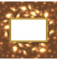 Colorful Glowing Christmas Lights with frame and vector image
