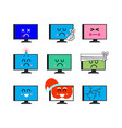 computer emoji set sed and happy pc emotion sick vector image vector image