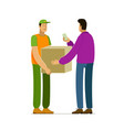 courier delivery to client delivering service vector image