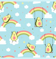 cute avocados and rainbows print design seamless vector image
