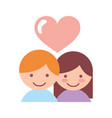 cute couple lovers with heart vector image