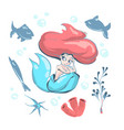cute little mermaid and marine life cartoon vector image vector image