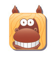 cute square brown horse with yellow mane vector image vector image