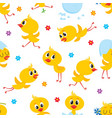 easter seamless pattern with funny baby chicken vector image vector image