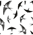 Flying birds black and white pattern vector image vector image