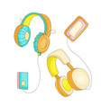 funny cartoon set of colored headphones with retro vector image