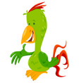 funny parrot bird cartoon animal character vector image