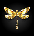 gold polygonal dragonfly vector image vector image