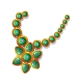 Gold vintage necklace with green gemstones vector image