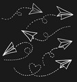 hand drawn paper airplane doodle paper plane vector image