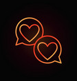 hearts in speech-bublle red outline icon vector image