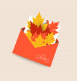 hello autumn card with leaves in envelope vector image